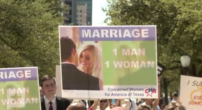 Watch: Here's a Bunch of Texan White People Protesting Same-sex Marriage