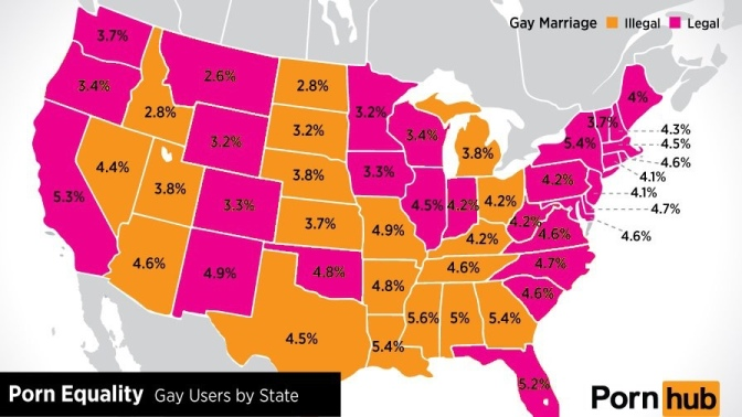 Guess What? Higher Percentage of Gay Porn in Southern States