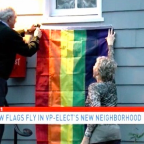 D.C. Neighbors of VP-Elect Mike Pence Troll Him with Rainbow Flags for His Anti-GayViews
